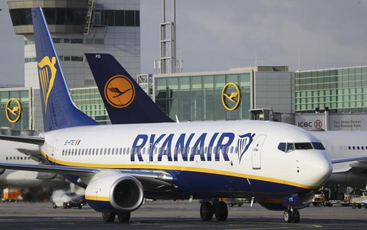 A Ryanair aircraft taxis at Fraport airport in Frankfurt