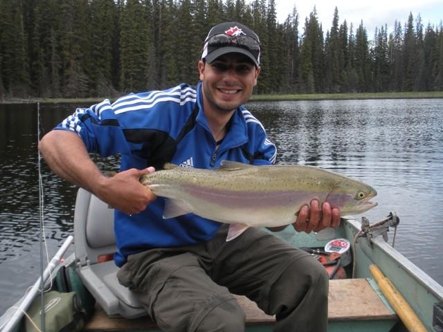 Great weather good friends big kamloops rainbows for Pure fishing jobs