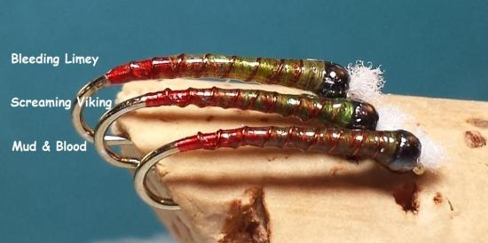 Bleeding Limey Screaming Viking Chironomid Pupa Green Red Butt Chironomid Pupa Fly Pattern Comparison