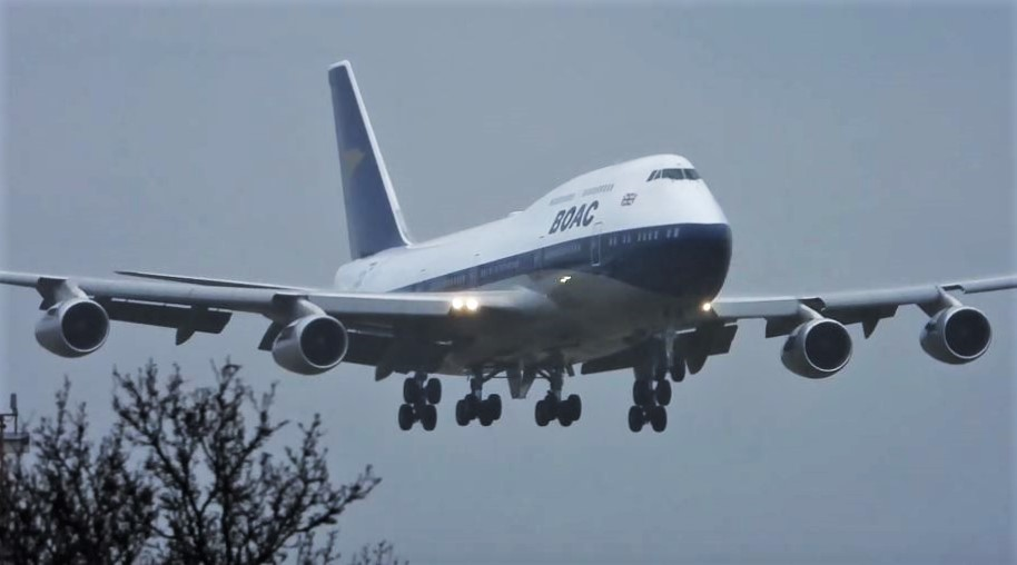 BA B747 Retro Livery lands at Heathrow airport in London