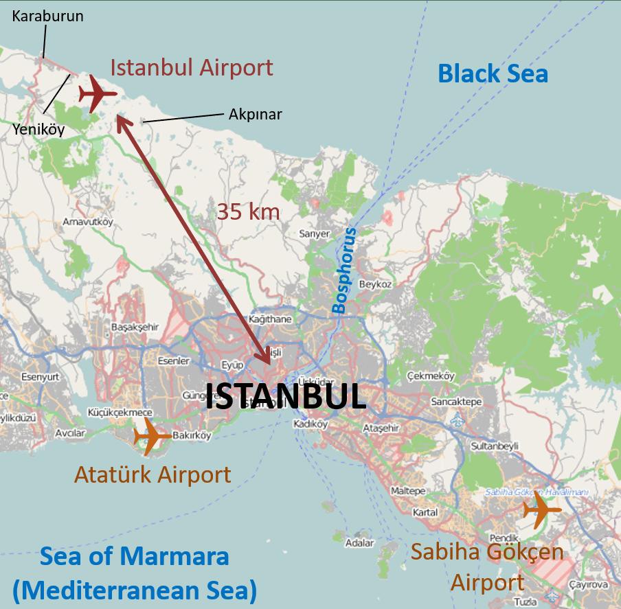 Istanbul International Airport Location Map
