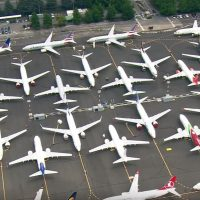 AERIALS OF GROUNDED BOEING 737 MAX AIRCRAFT AT SEATTLE'S BOEING FIELD