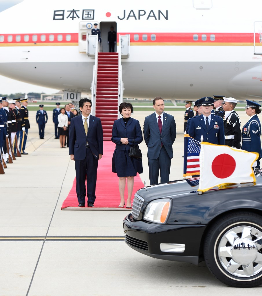 Japanese Prime Minister visits US with B747 Air Force One
