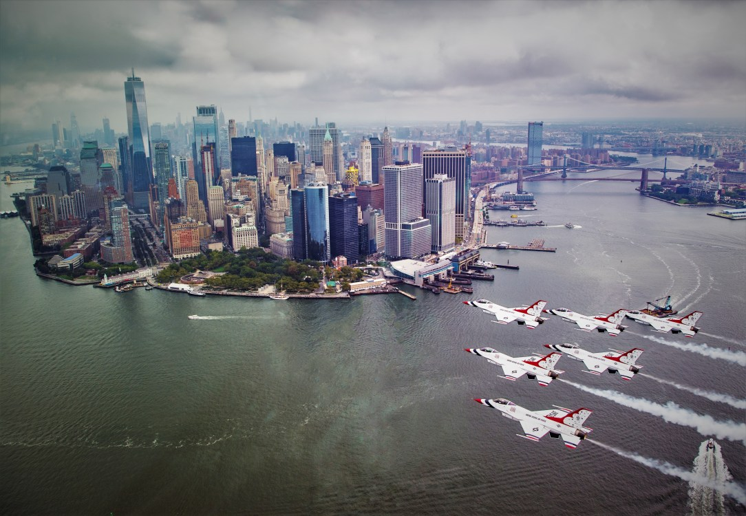Thunderbirds fly over New York City