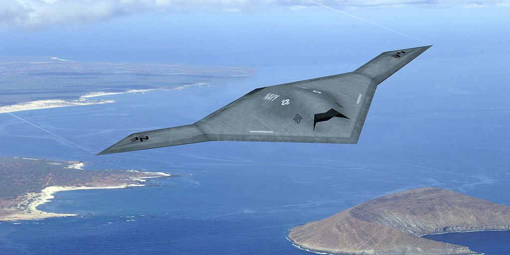 X-47B over coastline