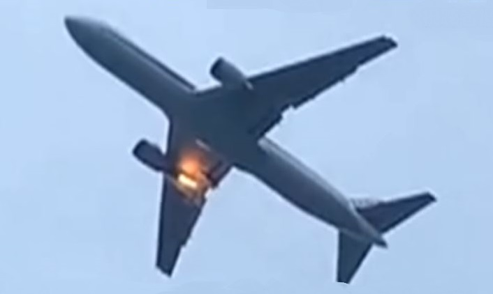 ANA B767 makes emergency landing after an engine caught fire