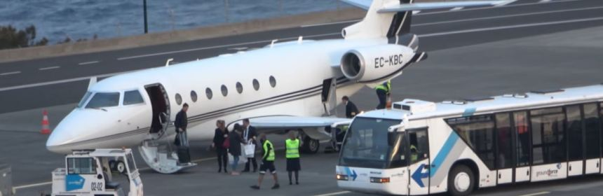 Cristiano Ronaldo Lands With Private Jet At Madeira Airport