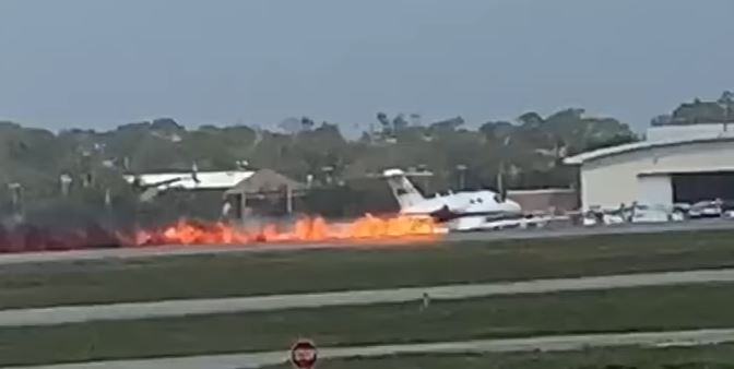 Cessna Citation Performs Belly Landing At Daytona Beach International Airport