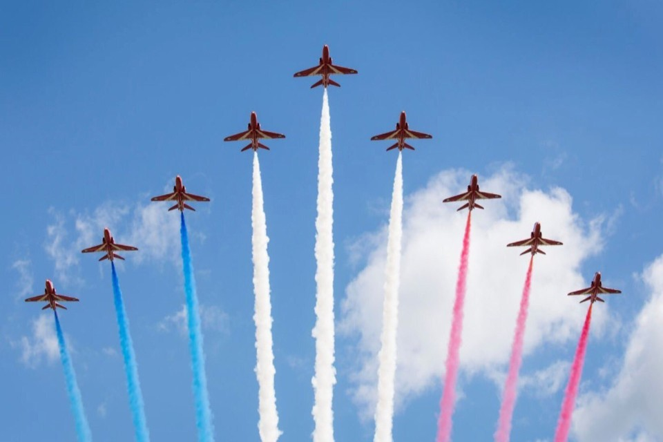 The Red Arrows Flypast over London to mark the 75th anniversary of VE Day.