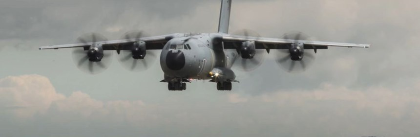 RAF A400M Cargo Aircraft Conducts Spectacular Beach Landing