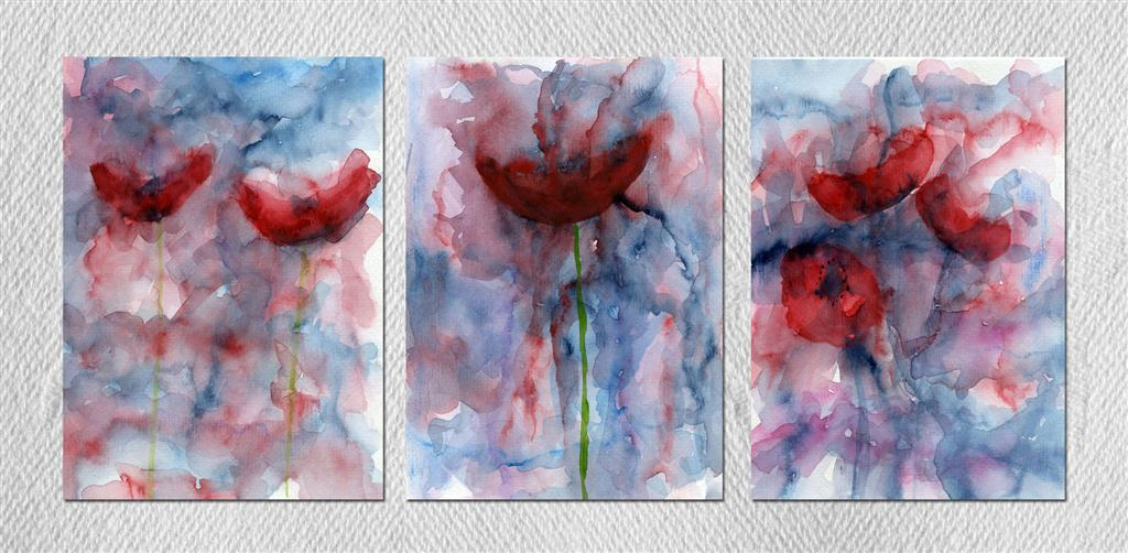 Three abstract poppy paintings (SOLD)