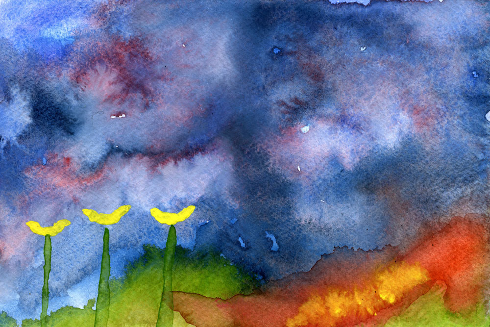 Yellow flowers, abstract landscape