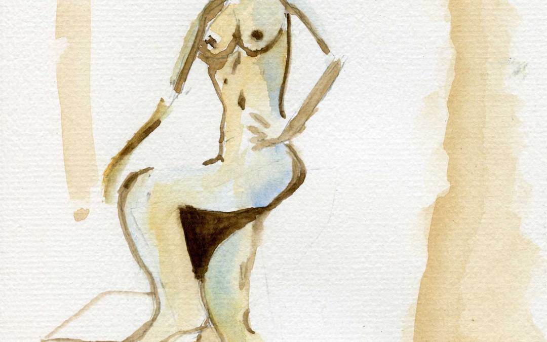Standing abstract nude – Daily Painting #460 (SOLD)