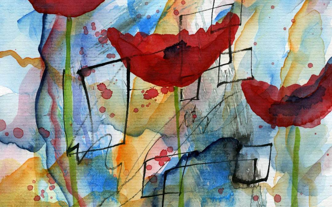Poppies on Abstract – Daily Painting #507