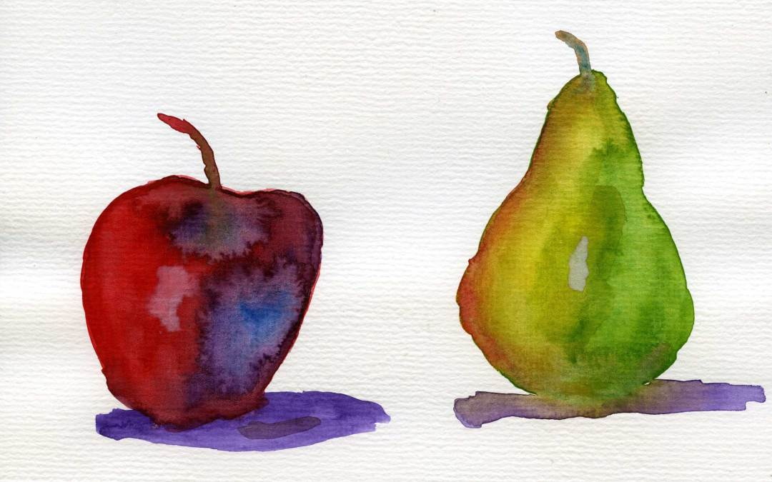 Apple and Pear – Daily Painting #517 (SOLD)