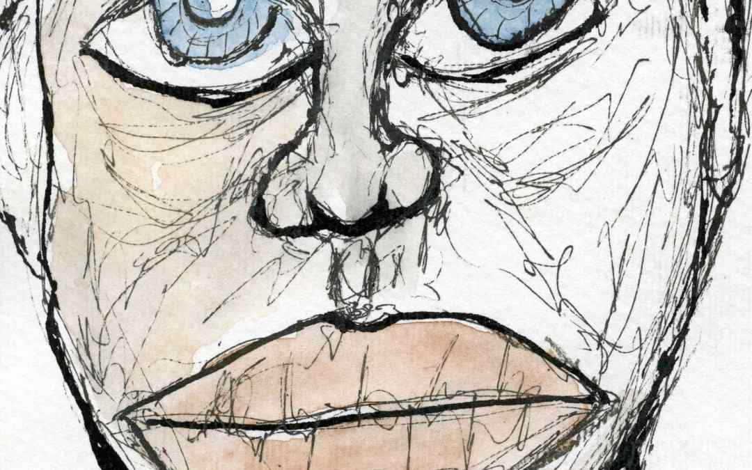 Face, ink and watercolour – Daily Painting #552 (SOLD)