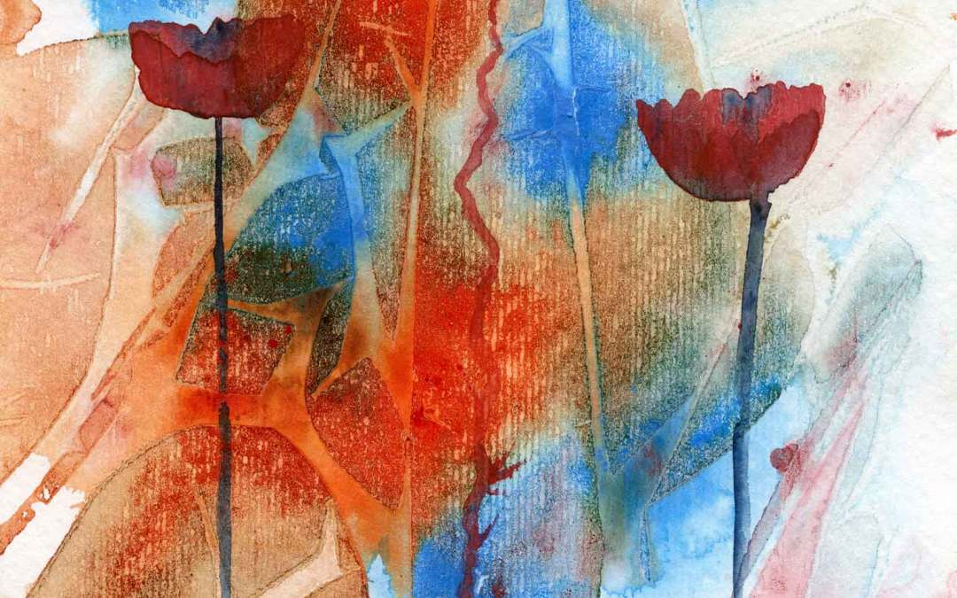Poppies on Abstract – Daily painting #568 (SOLD)