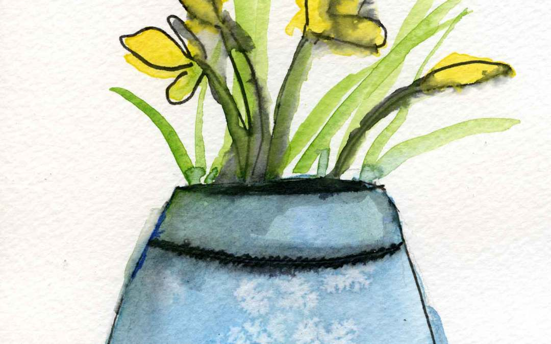 Flowers in vase – Daily painting #679