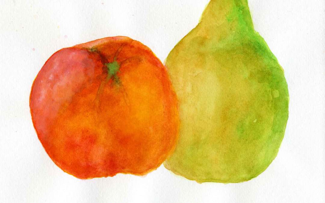 Orange and pear – Daily painting #661