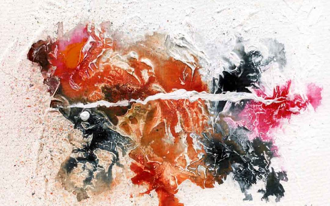 Black, orange and pink abstract – Daily painting #1043 (SOLD)