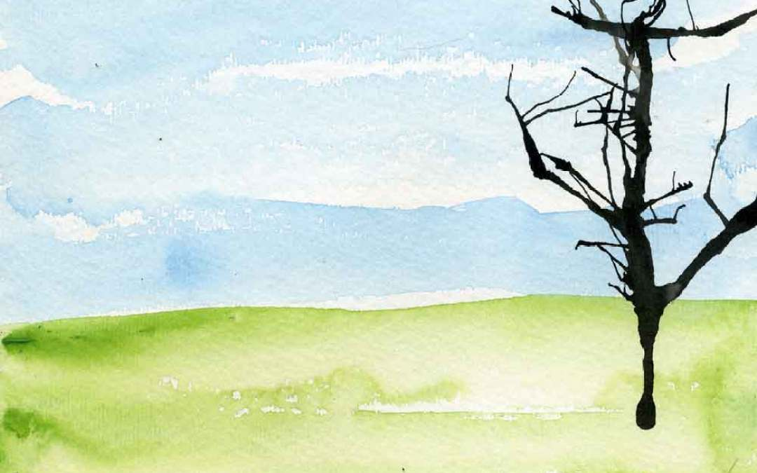 Tree on watercolour landscape – Daily painting #1125