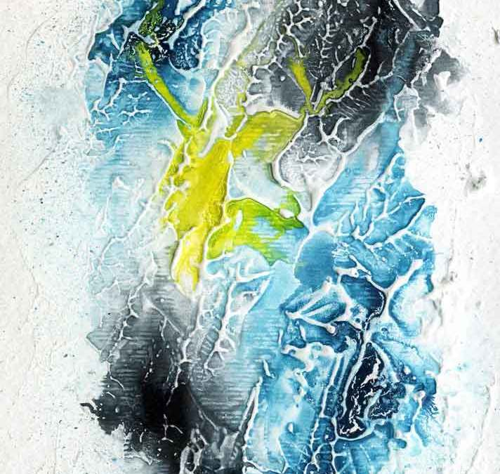Yellow, blue and black abstract – Daily painting #1148