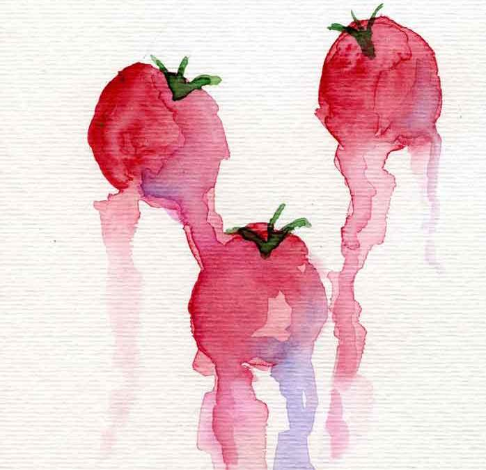 Three tomatoes – Daily painting #1156