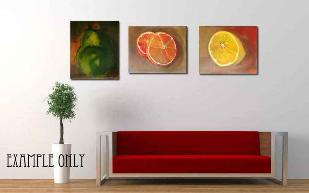 Pear, lemon and orange acrylic paintings on canvas