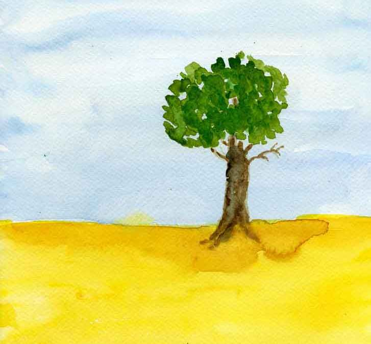 Green tree in yellow field – Daily painting #1166