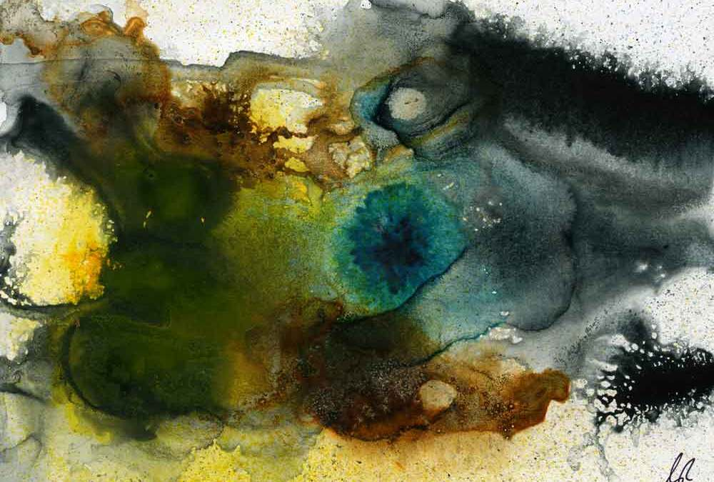 Green brown and black abstract – Daily painting #1232