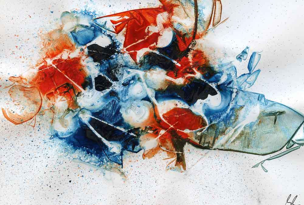 Red and Blue abstract – Daily painting #1282
