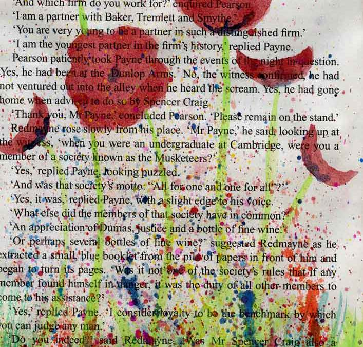 Poppies on print  (#054)