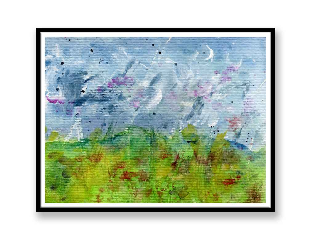 Abstract field Watercolour painting (#087)