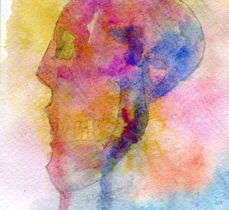 Watercolour skull (#353)
