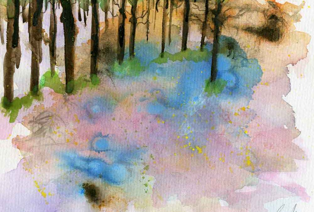 Bluebell field print for sale