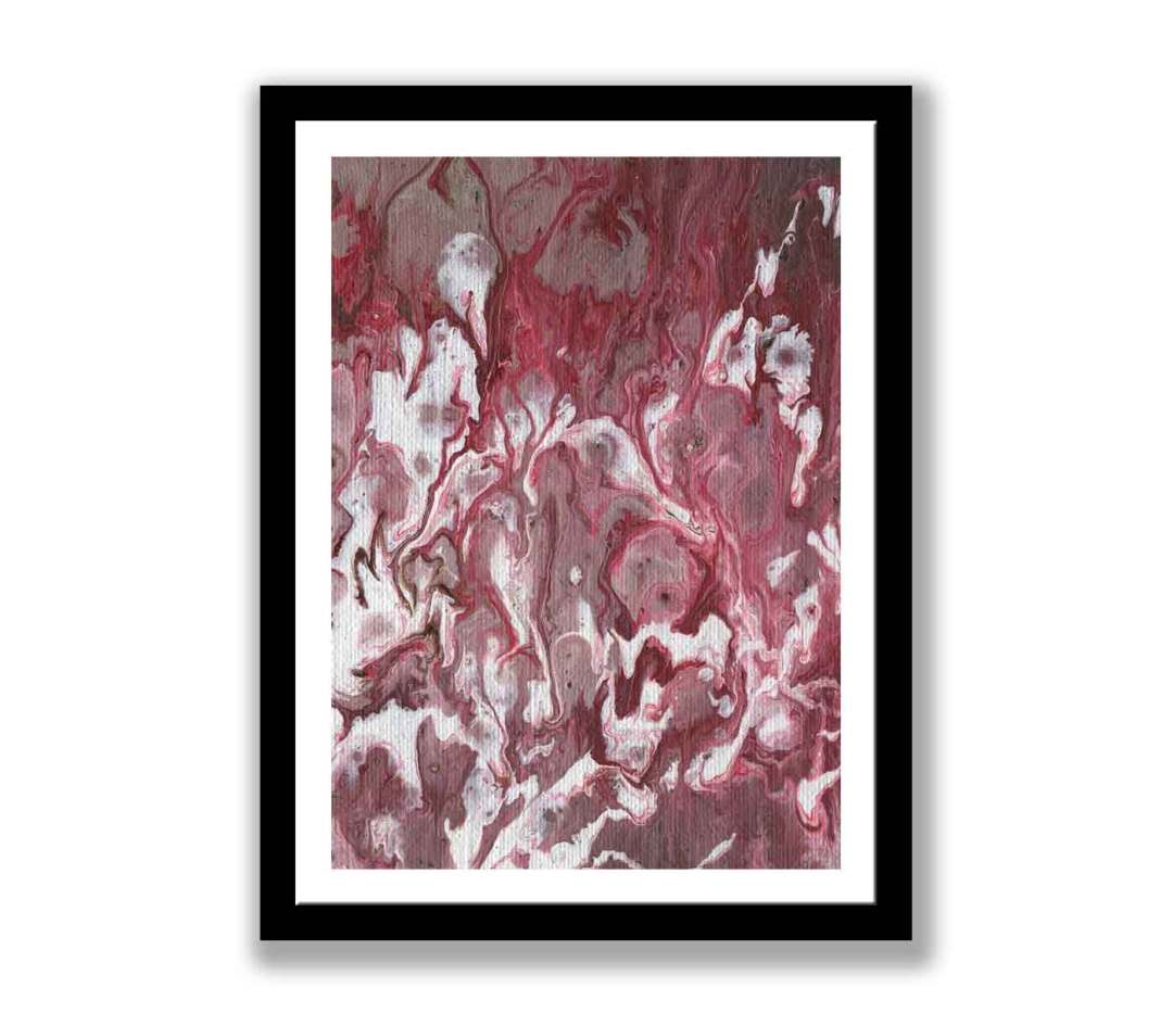 Red and white abstract painting – Print for sale (#1386)