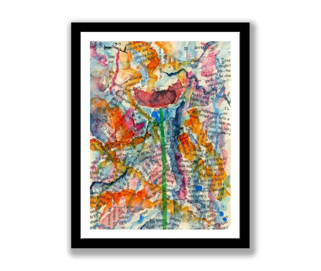 Abstract watercolour poppy print (#189)