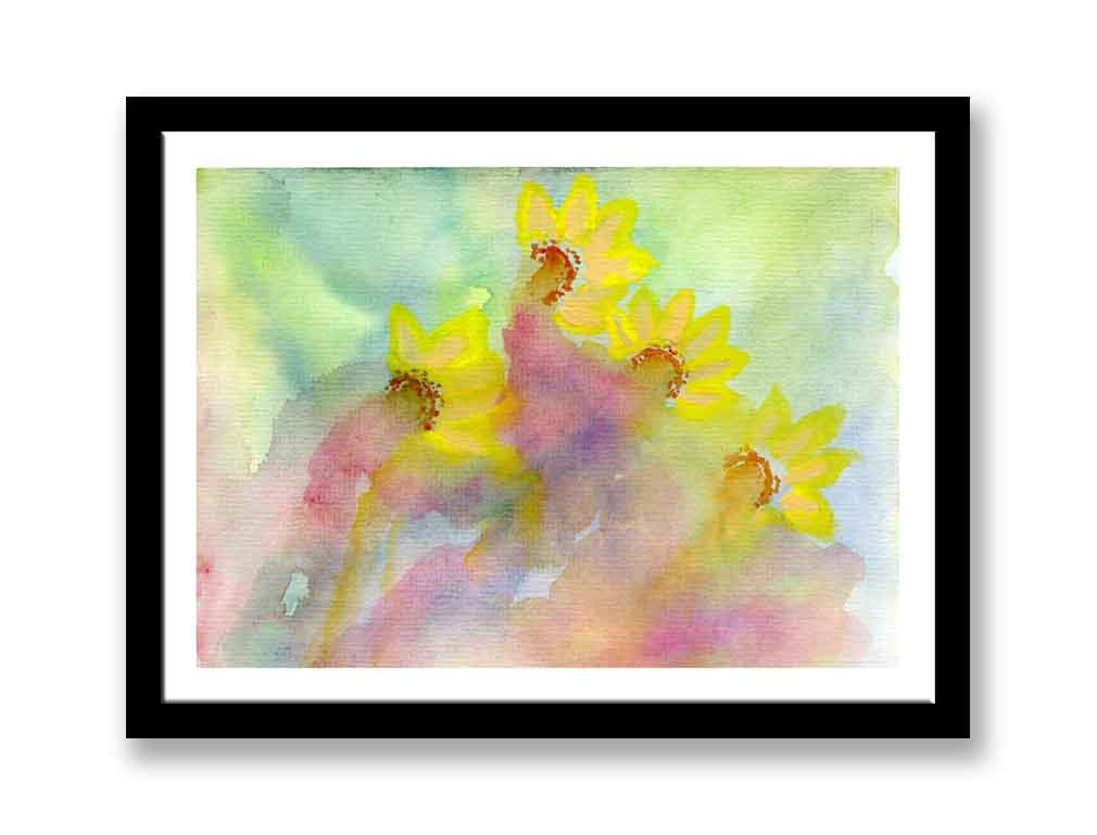 Abstract daffodils Print of watercolour painting  (#198)