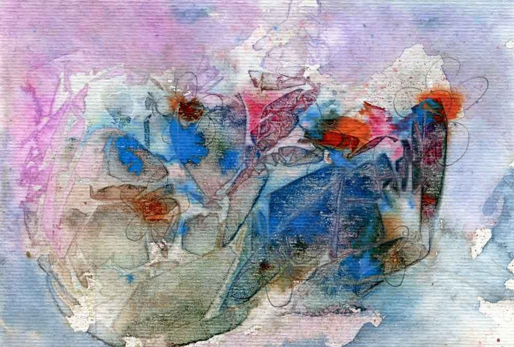 Abstract watercolour flower (#221)