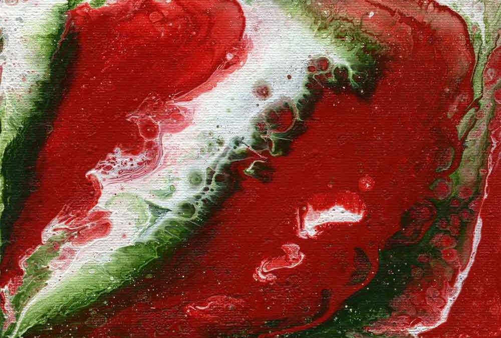 Fluid Red, green and white abstract (#1396)