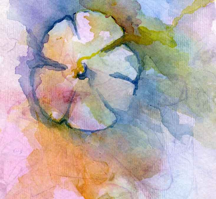 Abstract watercolour flower (#281)