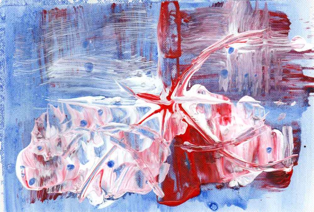 Blue, red and white abstract (#1480)