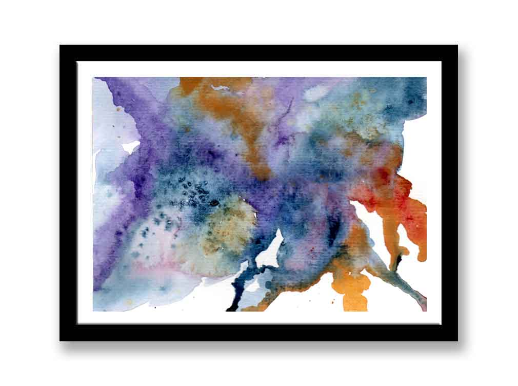 Blue, yellow and purple watercolour abstract (#1536)