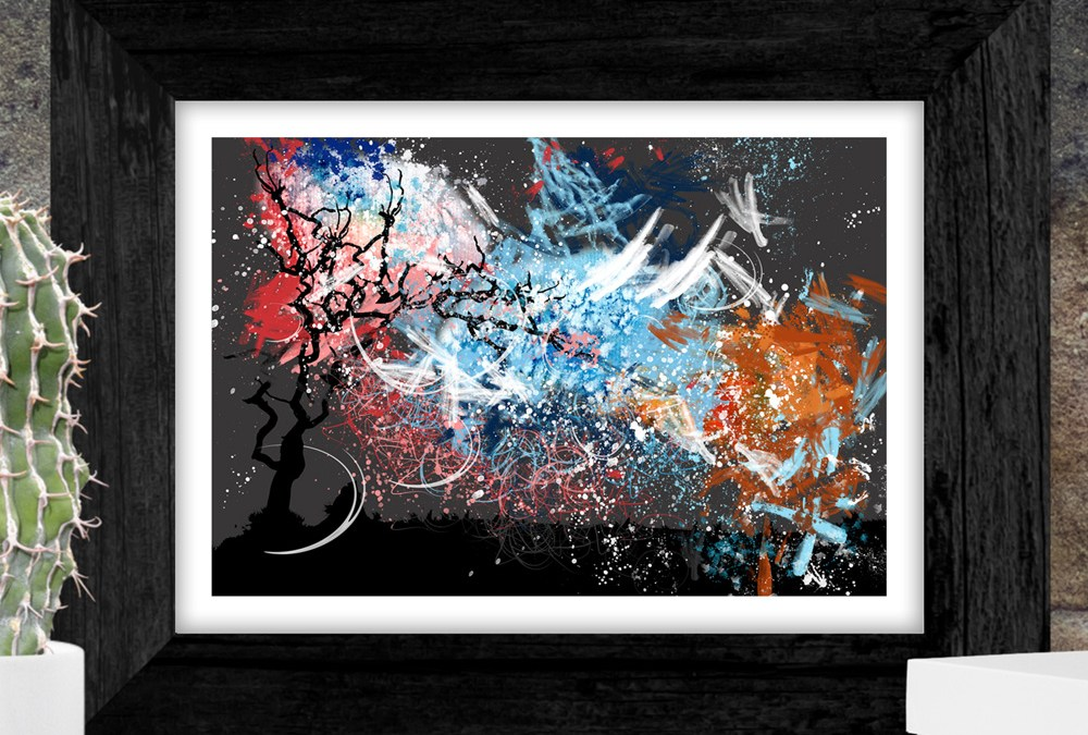 Blue, pink and orange abstract over tree