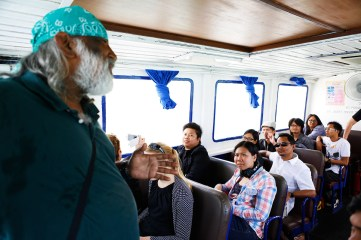 18 Jan - More briefing from our Guide on Ferry, FCP 2013 Day 3, Enroute to Pulau Semakau Landfill, Singapore