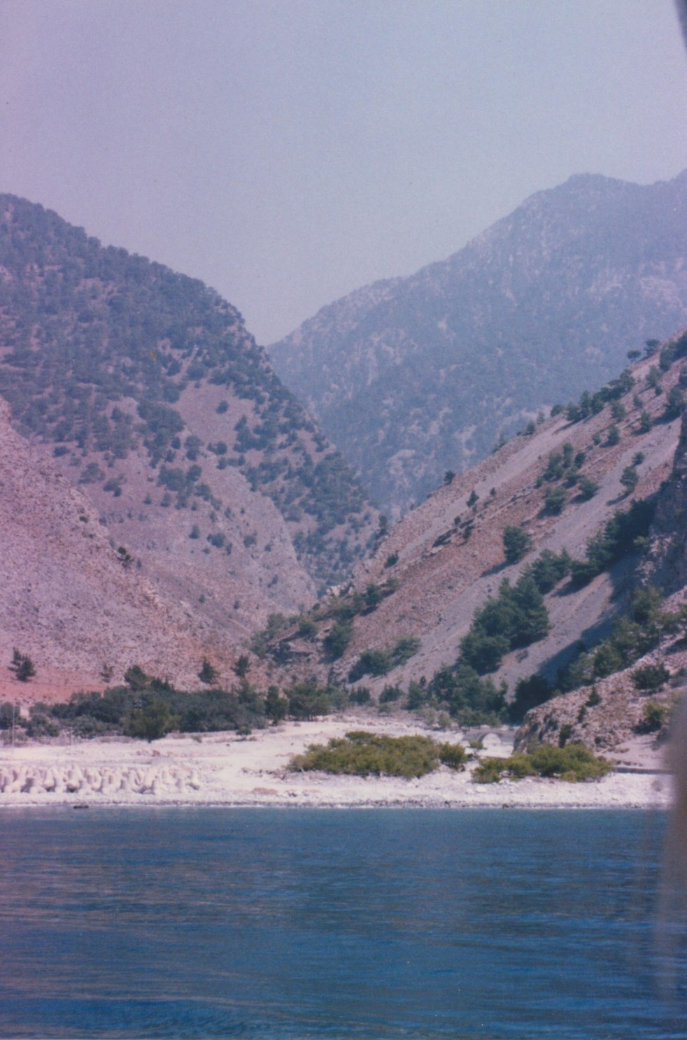 a view from the sea of Samariá Gorge in Crete, Greece