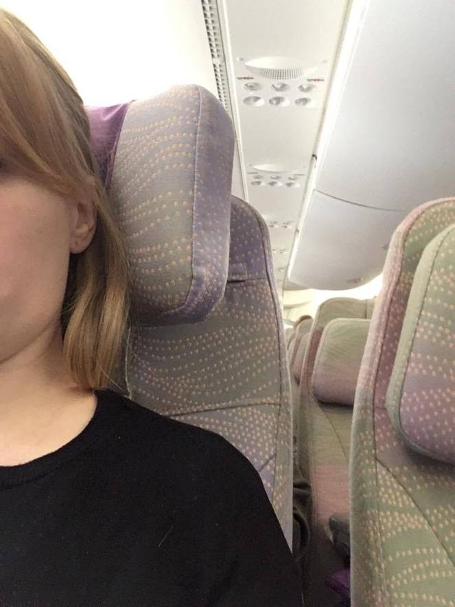 Headrest in economy on Emirates Airbus A380