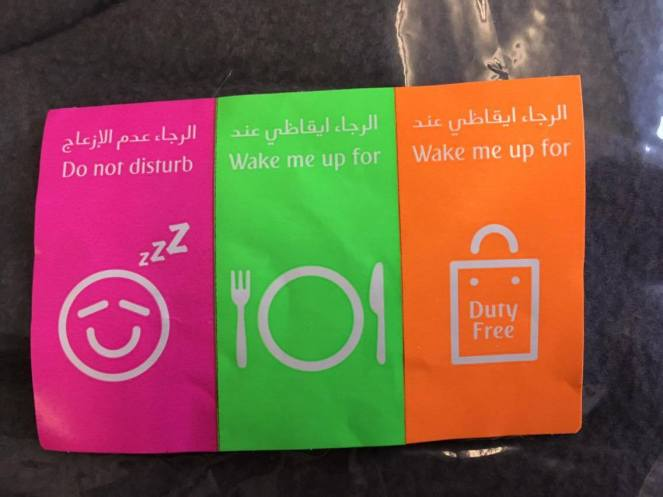 3 neon seat stickers, pink Do not disturb, green Wake me up for Food, orange Wake me up for Duty Free