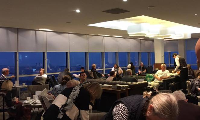 Busy seating in the No1 Traveller Lounge Gatwick North terminal