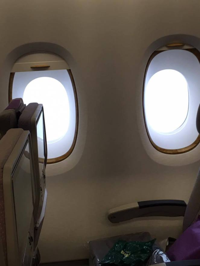 2 windows in economy on an Emirates Airbus A380 plane